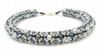 Tubular Netting Pearl Beadwork Bracelet Jewellery Making Kit with SWAROVSKI® ELEMENTS pearl beads blue and grey